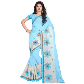 Ethinista Blue Colored Cotton Saree With Matching Blouse
