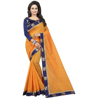 Ethinista Orange Colored Jacquard And Art Silk Saree With Matching Blouse