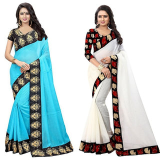 Ethinista Blue And White Colored Art Silk Saree With Matching Blouse