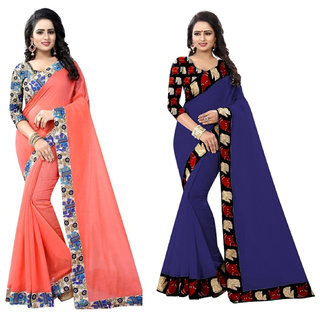 Ethinista Cream And Dark Blue Colored Art Silk Saree With Matching Blouse