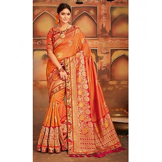Orange Colored Silk Embroidered Blouse  Weaving Print With Tassels Pallu Saree