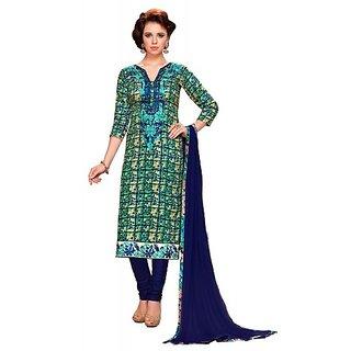 Women Pure Cotton Printed Embroidery Unstiched Churidar Suit Salwar Kameez Dress Material