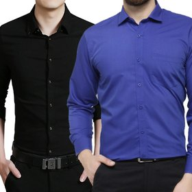 US Pepper Black & Royal Blue Casual Cotton Shirt (Pack of 2)