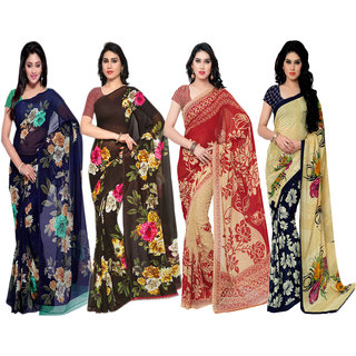 Anand Sarees Pack of 4 Printed,Georgette Sarees