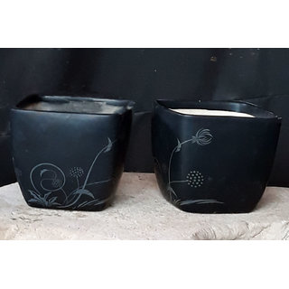 Flora Bonsai Ceramic Flower Pots- Black- Set Of 2