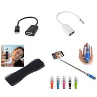 (S08) Combo of Selfie Stick, OTG Cable, Splitter Cable and Finger Grip (Assorted Colors)