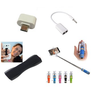 KSJ Combo of Selfie Stick  OTG Adopter  Splitter Cable and Finger Grip (Assorted Colors)