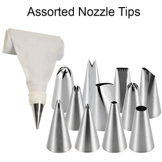 lucky traders Stainless Steel icing Nozzles  Cake Piping Bag with 1 Coupler for Decorating CupCake Pastry Desserts(Set of 12)(Assorted)