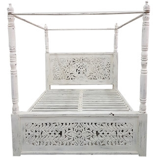Shubham Arts White Color Wooden Carved King Size Bed With 4 Pillers