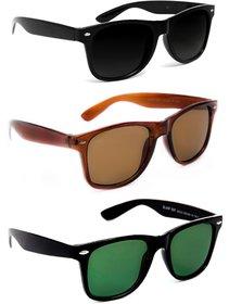 TheWhoop Super Combo UV Protected New Black, Brown And Green Wayfarer Sunglasses For Men, Women, Girls, Boys