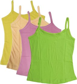 UCARE Pure Cotton Plain Multi-Colored Camisole Slip for Girls  Kids (209-Pack of 6)
