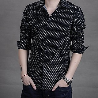Royal Fashion Dotted Black Shirt For Men
