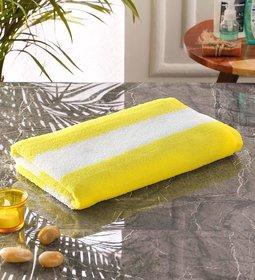 Bathe  Soak Microfiber Bath Towel Cabana, 70x140 cms, Large, 250 GSM (White  Yellow)