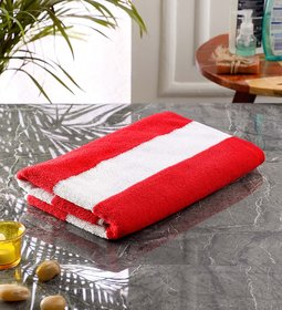 Bathe  Soak Microfiber Bath Towel Cabana, 70x140 cms, Large, 250 GSM (White  Red)