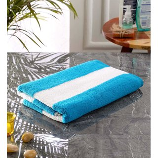 Bathe  Soak Microfiber Bath Towel Cabana, 70x140 cms, Large, 250 GSM (White  Blue)