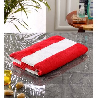 Bathe  Soak Microfiber Bath Towel Cabana, 70x140 cms, Large, 250 GSM (White  Red)