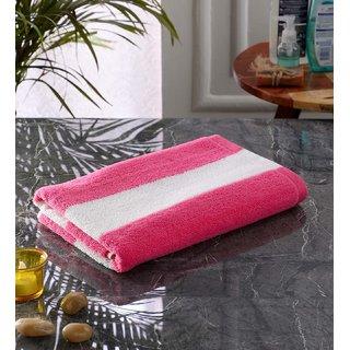 Bathe  Soak Microfiber Bath Towel Cabana, 70x140 cms, Large, 250 GSM (White  Pink)