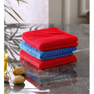 Bathe  Soak Pack of 3 Microfiber Kitchen Dish Towel, 24x24 cms, 250 GSM, (Red  Blue)