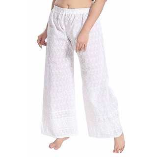 Palazzo pant for women chicken Off white  embroidery Palazzo