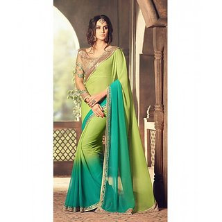 Green  Turquoise Colored Pesto Georgette Embroidered Saree