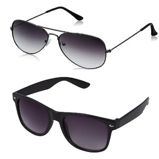 Debonair Grey Aviator Sunglass + Free Black Wayfarer (UV PROTECTED) Sunglass