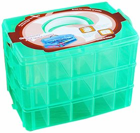 SYGA 3-Tray Transparent Plastic Storage Box with Collapsible and Removable Dividers(24.5 X 16.5 X 18Cm)Green