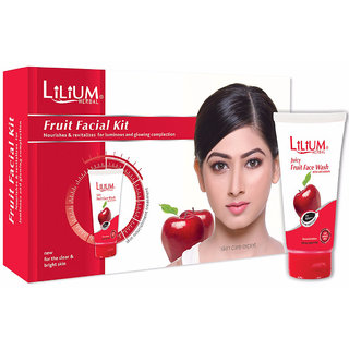 Lilium Herbal Fruit Facial Kit 80gm With Free Face Wash 60ml Worth Rs. 60/