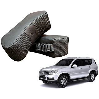 Auto Addict CV Designer Gray Neck Leatherite Car Pillow Cushion 2 Pcs for Mahindra Rexton