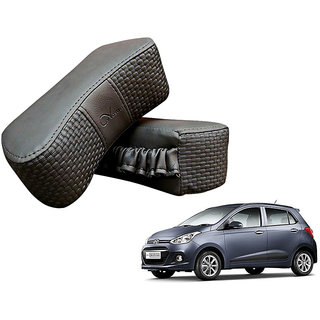 Auto Addict CV Designer Gray Neck Leatherite Car Pillow Cushion 2 Pcs for Hyundai Grand i10