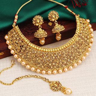 Sukkhi Moddish Choker Gold Plated Necklace Set