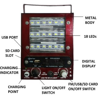 Speaker 5 in 1 Multi-Functional 18 LED with charger Emergency Lights with FM AUX  SDCard USB