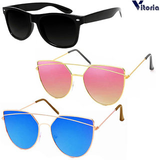 Vitoria Multicolour Mirrored Aviator Unisex Sunglasses ( Pack of 3)