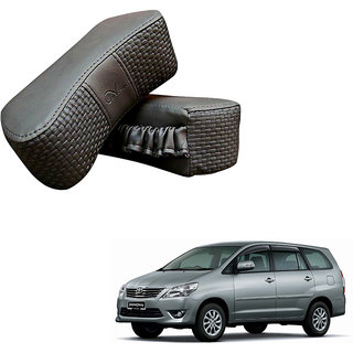 Auto Addict CV Designer Gray Neck Leatherite Car Pillow Cushion 2 Pcs for Toyota Innova