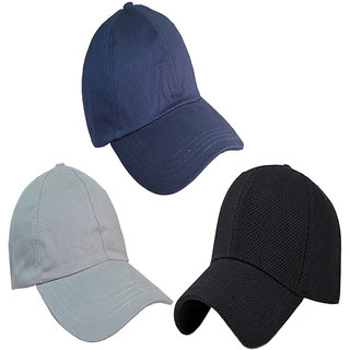 3fe9d713181 Sunshopping men s navy blue grey and black baseball caps (Pack of three)