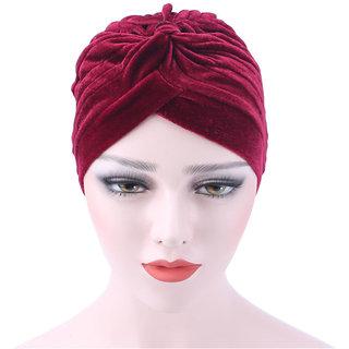 Modo Vivendi Unisex Velvet Ruffle Hat Beanie Scarf Turban Head Wrap Cap For Men And Women Winter Hats For Women Bonnet
