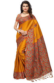 Indian Beauty Women's Yellow Color Kashmiri Silk With Tessals Printed Saree With Blouse