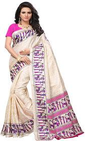 Indian Beauty Women's Pink Color Banglori Silk Printed Saree With Blouse