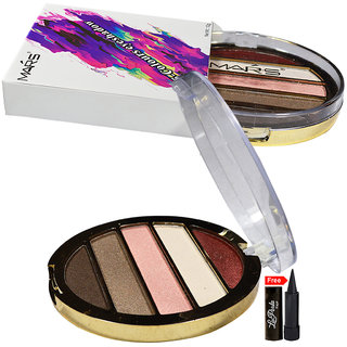 Mars Imported Matte  Sheer 5-Colours Eye shadow EP09-05 With Free LaPerla Kajal Worth Rs.125/