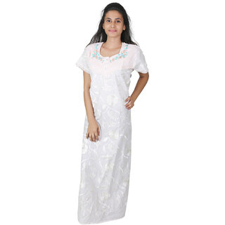 087f123735 Buy Sleeping Story White Long Cotton Nighty for Women Online - Get ...