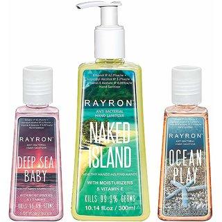 Rayron Combo Set of Hand Sanitizer Set of 3 (NakedIsland300ml + Deep Sea Baby30ml + Ocean Play30ml)