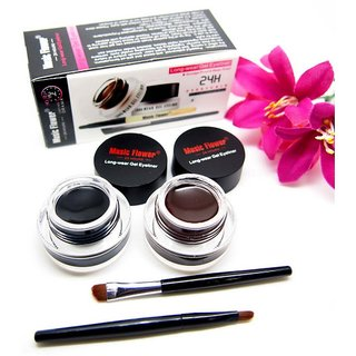 Music Flower Gel Eyeliner 6 g (Black -01, Brown- 01) with 2 eyeliner brush