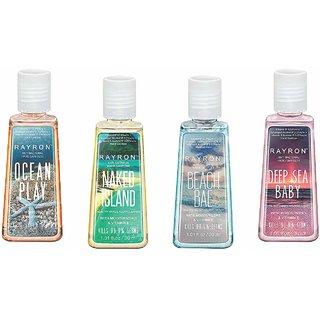 Rayron Combo Set of Hand Sanitizer Set of 4 (Ocean Play30ml + NakedIsland30ml + Beach Bae30ml + Deep Sea Baby30ml)