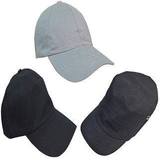 d750d7421 Buy Sunshopping men s solid grey and black caps (Pack of three) Online    ₹689 from ShopClues