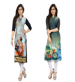 Glance Designs woman's Digital Printed Straight Cut Kurta41-44