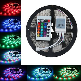 SILVOSWAN 5 Meter RGB Waterproof LED Strip With Remote for Diwali, Decoration (5050)