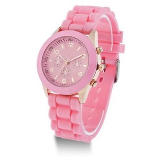 ITHANO SILICONE STRAP CHRONOGRAPH STYLED WOMEN WRIST WATCH - LIGHT PINK
