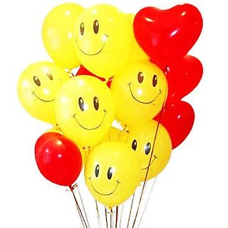 PACK Of 50 Red Heart shape and Smiley Latex Balloons For Wedding Party  Birthday Party  Baby Shower  Bridal Shower F