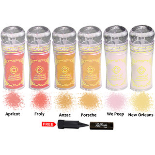 Mars Imported Crystal Shiner Shimmer Powder Pack of 6 Shade-8509-B With Free LaPerla Kajal Worth Rs.125/