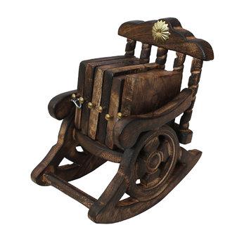Craft Art India Handmade Chair Shaped Wooden Tea Coaster Antique Inspired  CAI-HD-0341