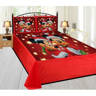 Style Maniac Mickey Mouse Cartoon Double King Bedsheet With 2 Pillow Covers